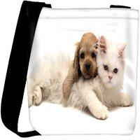 Snoogg Puppy With Persian Cat Designer Womens Carry Around Cross Body Tote Handbag Sling Bags RPC-7929-SLTOBAG