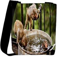 Snoogg Monkey And Water Designer Womens Carry Around Cross Body Tote Handbag Sling Bags RPC-8904-SLTOBAG