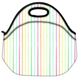 Snoogg Colorful Strips Travel Outdoor Tote Lunch Bag