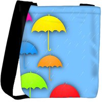 Snoogg Abstract Rainy Season Background With Colorful Umbrella And Raindrops Designer Protective Back Case Cover For Oneplus 3 Designer Womens Carry Around Cross Body Tote Handbag Sling Bags RPC-3789-SLTOBAG