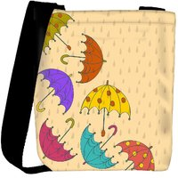 Snoogg Abstract Rainy Season Background With Rain Drops And Colorful Umbrellas Designer Protective Back Case Cover For Oneplus 3 Designer Womens Carry Around Cross Body Tote Handbag Sling Bags RPC-3791-SLTOBAG