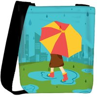 Snoogg Abstract Rainy Season Background With Waterdrops And Clouds Designer Protective Back Case Cover For Oneplus 3 Designer Womens Carry Around Cross Body Tote Handbag Sling Bags RPC-3795-SLTOBAG