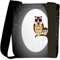 Snoogg Owl Sit On Branch With Baby Owl Designer Womens Carry Around Cross Body Tote Handbag Sling Bags RPC-4884-SLTOBAG