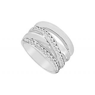 LoveBrightJewelry Diamond Crossover Ring 14K White Gold-0.75 CT