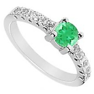 LoveBrightJewelry 14K White Gold Emerald & Diamond Ring-0.75 CT