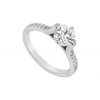 LoveBrightJewelry Voguish Platinum & Diamond Engagement Ring-0.75 CT