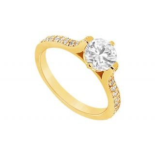 LoveBrightJewelry 14K Yellow Gold & Diamond Voguish Engagement Ring-0.75 CT