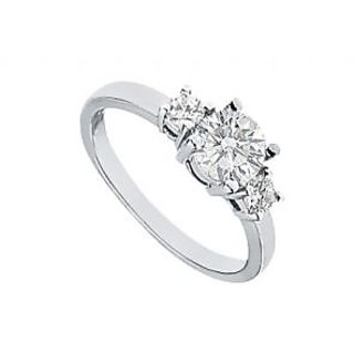 LoveBrightJewelry Three Stone Platinum & Diamond Engagement Ring-1.00 CT