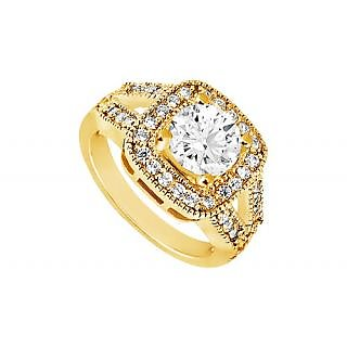 LoveBrightJewelry In Trend 14K Yellow Gold Diamond Engagement Ring-1.25 CT