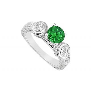 LoveBrightJewelry 14K White Gold Emerald & Diamond Engagement Ring-2.00 CT