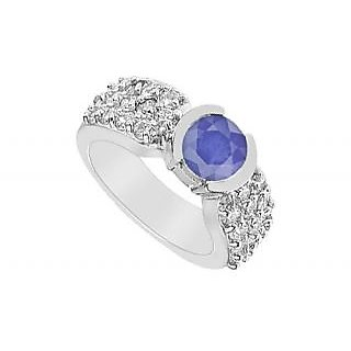 LoveBrightJewelry 14K White Gold Sapphire & Diamond Ring-2.00 CT