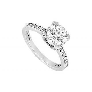 LoveBrightJewelry 18K White Gold & Diamond Modern Engagement Ring- 1.00 CT
