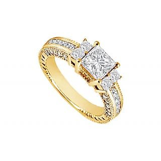 LoveBrightJewelry Stylish 14K Yellow Gold Diamond Engagement Ring-1.75 CT