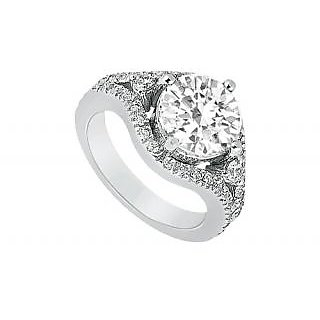 LoveBrightJewelry Platinum & Diamond Trendy Engagement Ring-0.75 CT