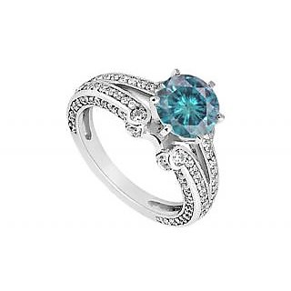 LoveBrightJewelry Classy Blue 14K White Gold & Diamond Engagement Ring-1.25 CT