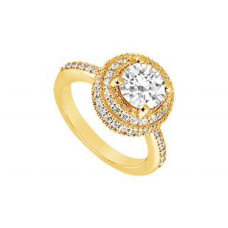 LoveBrightJewelry 14K Yellow Gold & Diamond Lovely Engagement Ring-1.25 CT