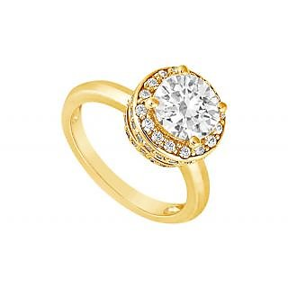 LoveBrightJewelry 14K Yellow Gold & Diamond Alluring Engagement Ring-1.00 CT