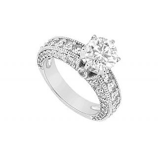 LoveBrightJewelry 18K White Gold & Diamond Engagement Ring- 2.00 CT