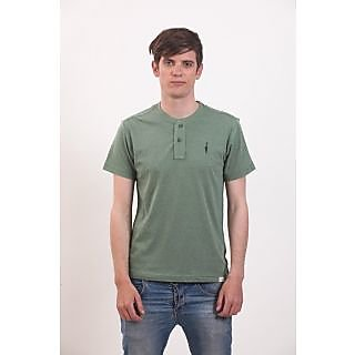 Smokestack Cotton V Neck Half Sleeves Men's T-Shirt (Green)