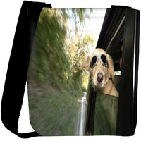 Snoogg Dog With Glasses Designer Womens Carry Around Cross Body Tote Handbag Sling Bags RPC-8064-SLTOBAG