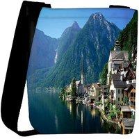 Snoogg Houses On Lake Side Designer Womens Carry Around Cross Body Tote Handbag Sling Bags RPC-9287-SLTOBAG
