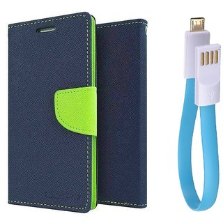 Reliance Lyf Flame 3 WALLET FLIP CASE COVER (BLUE) With Magnet Micro USB Cable