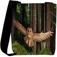 Snoogg Flying Owl Designer Womens Carry Around Cross Body Tote Handbag Sling Bags RPC-7784-SLTOBAG