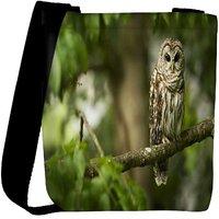 Snoogg Owl Sitting Designer Womens Carry Around Cross Body Tote Handbag Sling Bags RPC-7785-SLTOBAG