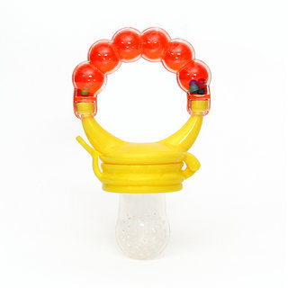 Silicone Baby Food/ Rattle Fruit Feeder/ Baby Teether/ Baby Soother, Orange