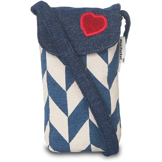 Blue Ladies Mobile Pouch With A Red Heart