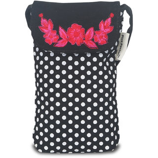 Black And White Polka Ladies Mobile Pouch With Red Embroideried Flowers