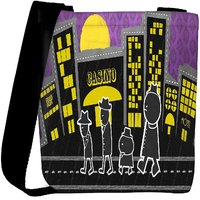 Snoogg Walking In Front Of The Casino 2728 Designer Womens Carry Around Cross Body Tote Handbag Sling Bags RPC-2728-SLTOBAG
