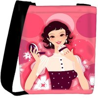 Snoogg Woman Putting On Her Make Up 2845 Designer Womens Carry Around Cross Body Tote Handbag Sling Bags RPC-2845-SLTOBAG