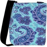 Snoogg Paisley Print Blue Designer Protective Back Case Cover For Oneplus 3 Designer Womens Carry Around Cross Body Tote Handbag Sling Bags RPC-332-SLTOBAG
