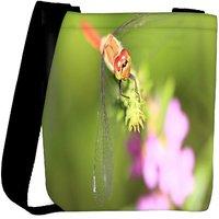Snoogg Dragonfly On A Branch Designer Womens Carry Around Cross Body Tote Handbag Sling Bags RPC-8077-SLTOBAG