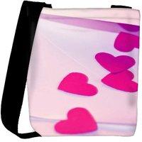 Snoogg Pink Heart Designer Womens Carry Around Cross Body Tote Handbag Sling Bags RPC-3204-SLTOBAG