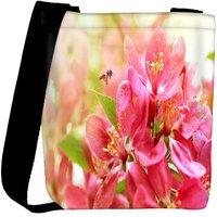 Snoogg Pink Flower Designer Womens Carry Around Cross Body Tote Handbag Sling Bags RPC-8263-SLTOBAG