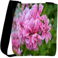 Snoogg Pink Flower Designer Womens Carry Around Cross Body Tote Handbag Sling Bags RPC-8264-SLTOBAG