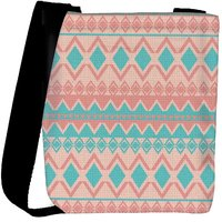 Snoogg Light Pink And Blue Aztec Designer Protective Back Case Cover For Oneplus 3 Designer Womens Carry Around Cross Body Tote Handbag Sling Bags RPC-3033-SLTOBAG