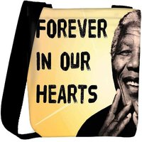 Snoogg Mandela In Our Hearts Designer Womens Carry Around Cross Body Tote Handbag Sling Bags RPC-751-SLTOBAG
