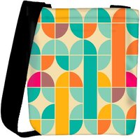 Snoogg Abstract Pattern Blue And Yellow Designer Womens Carry Around Cross Body Tote Handbag Sling Bags RPC-149-SLTOBAG