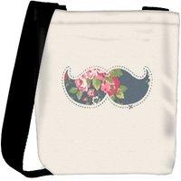 Snoogg Mustache Floral Designer Protective Back Case Cover For Oneplus 3 Designer Womens Carry Around Cross Body Tote Handbag Sling Bags RPC-3233-SLTOBAG