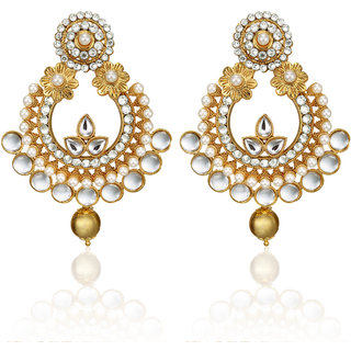 Arum latest designer stylish Flora Golden  Earrings With Pearl ADTE-006