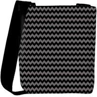Snoogg Grey Black Wave 2457 Designer Womens Carry Around Cross Body Tote Handbag Sling Bags RPC-2457-SLTOBAG