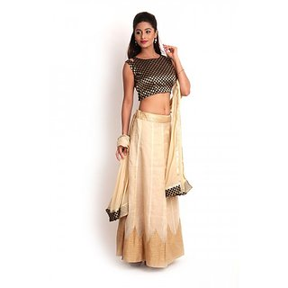 Beige  Black Banarasi Cotton Silk Lehenga set