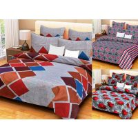 HandloomTrendz Combo Of 3 Cotton Double Bed Sheet With 6 Pillow Covers (9 Pcs)