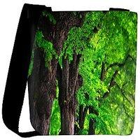 Snoogg Green Leaves In Tree Designer Womens Carry Around Cross Body Tote Handbag Sling Bags RPC-8488-SLTOBAG