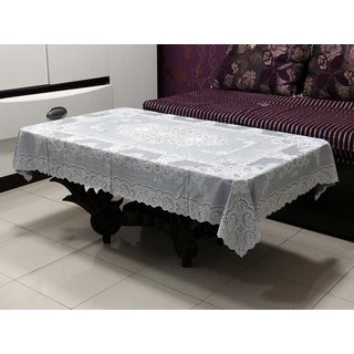 Katwa Clasic - 36 x 54 Inches Fancy Lace Vinyl Tablecloth (Grey)