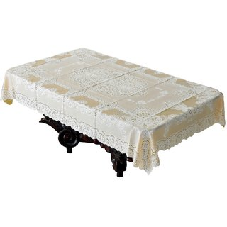 Katwa Clasic - 36 x 54 Inches Fancy Lace Vinyl Tablecloth (Gold)