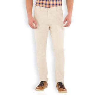 Highlander Beige Slim Fit Mid Rise Mens Casual Trouser